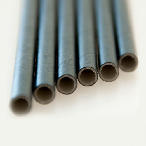 Cocktail Paper Trinking Straw, Solid Schwarz (6x150mm)