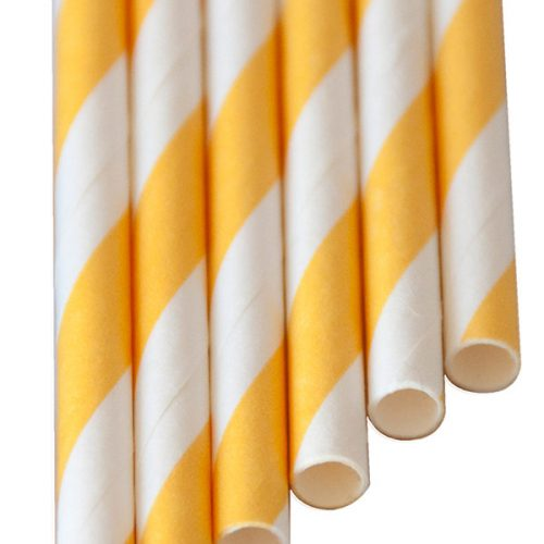 "Paper-Drinking-Straws ""long"" yellow stripes (6x250mm)"