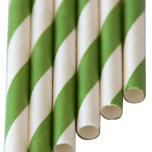 "Paper-Drinking-Straws ""long"" green stripes (6x250mm)"