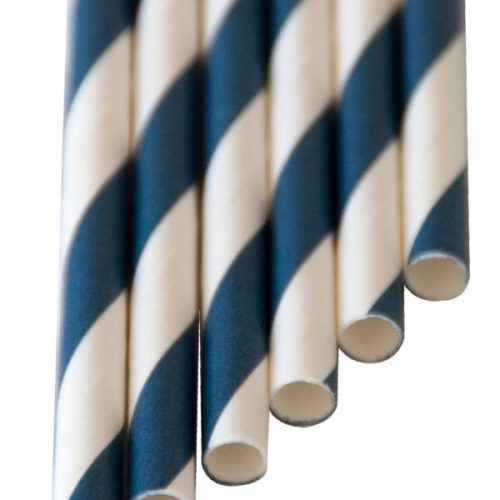 Paper-Drinking-Straws Navy blue stripes (6x210mm)