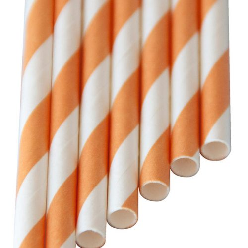 Paper-Drinking-Straws orange stripes (6x210mm)