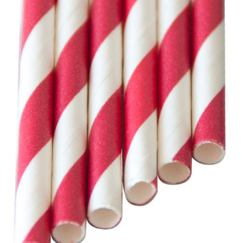 "SMOOTHIE Paper Straws ""long"" red stripes (8x250mm)"