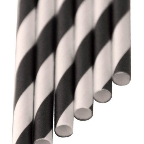 Paper-Drinking-Straws black stripes (6x210mm)