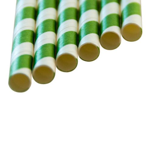 "SMOOTHIE Paper Straws ""long"" green stripes (8x250mm)"