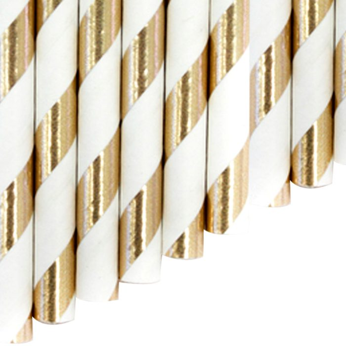 Paper FLEX Straw - gold stripes